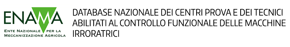 Database nazionale dei centri prova e dei tecnici abilitati al controllo funzionale delle macchine irroratrici